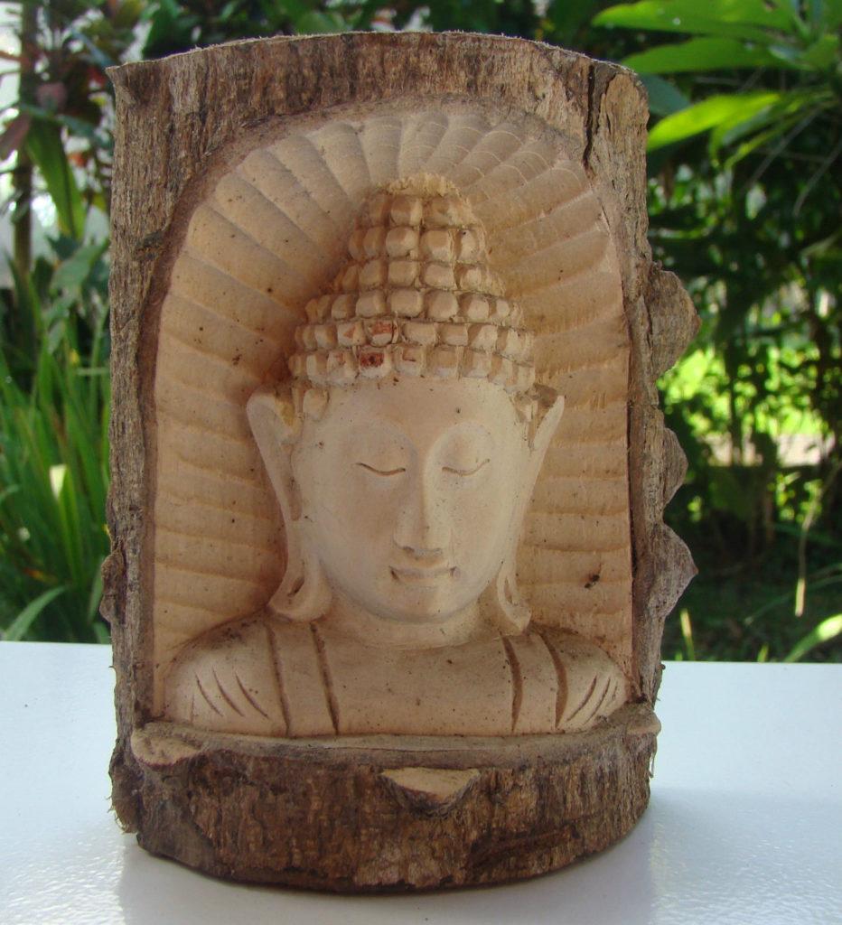 Bouddha en palétuvier bois de crocodile