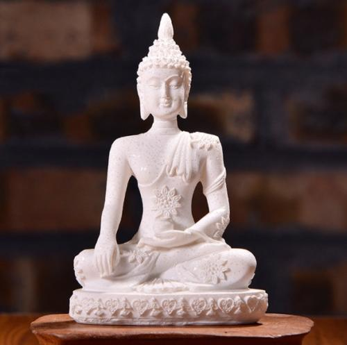 bouddha-artisanal-resine-blanc-face